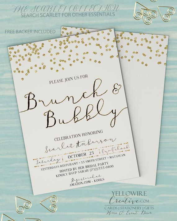 Brunch and bubbly Invitation, Bridal Brunch Invitation, Bridal Shower Invite, Bridal Shower, Digital Printable 5x7 Scarlet