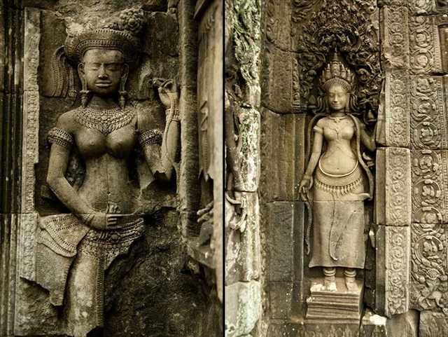 Statues at the Bayon temple.