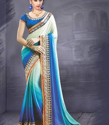 Buy multicolor embroidered jacquard saree With Blouse party-wear-saree online