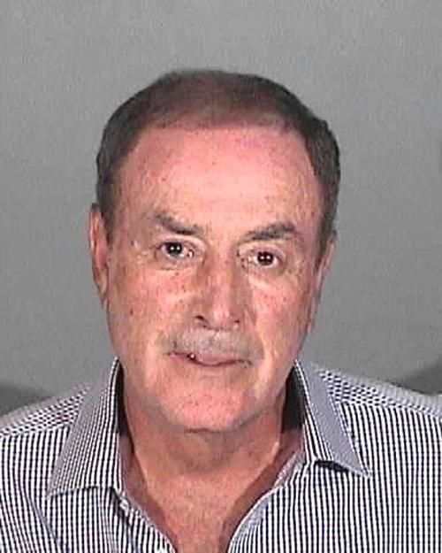 """NBC Sports announcer Al Michaels was arrested in April 2013 by California cops and charged with drunk driving. According to Santa Monica police, the """"Sunday Night Football"""" play-by-play man was pulled over at a DUI checkpoint after an officer saw him making an illegal U-turn. His blood alcohol content registered at the legal limit of .08, so Michaels was arrested and booked into jail (where he posed for the above mug shot)."""