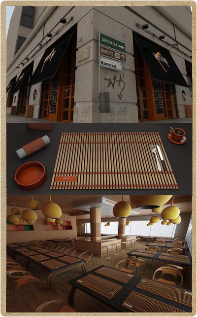 """3D Preview e studio del brand del ristorante """"Tavolini"""". Realizzazione dell'esterno per lo studio dei colori e dei materiali. 3D preview completa dell'interno e dell'arredamento unito allo studio completo del brand e dell'oggettistica.  Realizzato da P.Y.G. italy"""