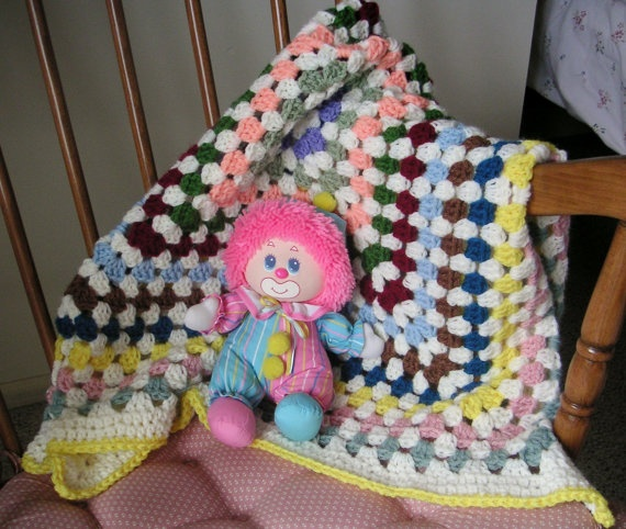 Crocheted Granny Baby Afghan of Many by LynnsCreativeCrochet, $12.00
