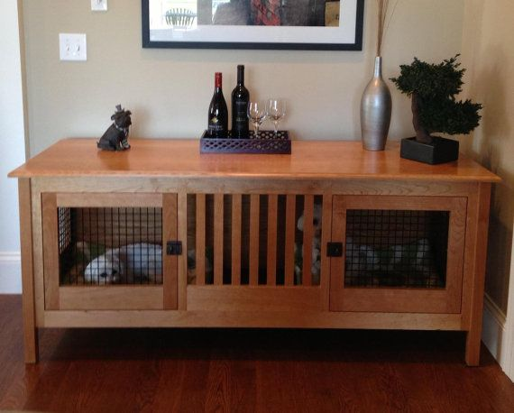 Double Small Wood Dog Crate Furniture Custom By HuntRidgeRanch