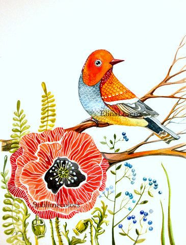 Red Bird with red poppy, floral, woodland. Original watercolor painting - Elina Lorenz