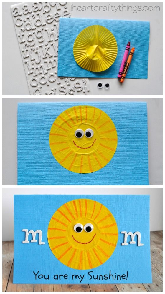 You are my Sunshine Mother's Day Card Kid Craft from iheartcraftythings.com.