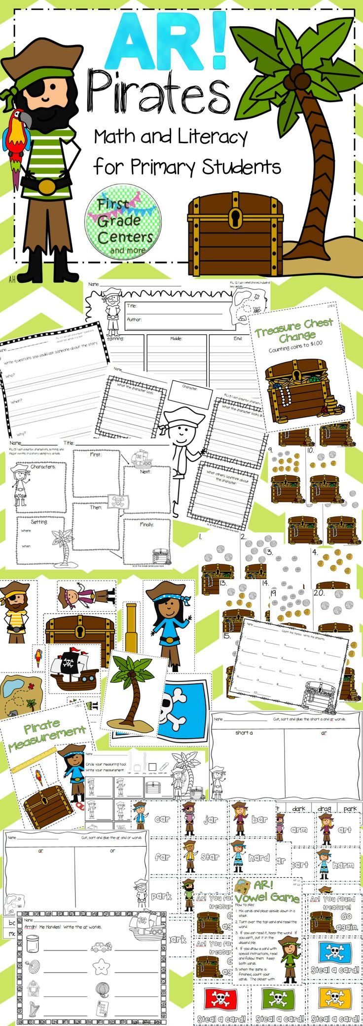 Pirates! Includes r controlled vowel ar, nonstandard measurement, money, writing, graphic organizers for literature standards and more! $