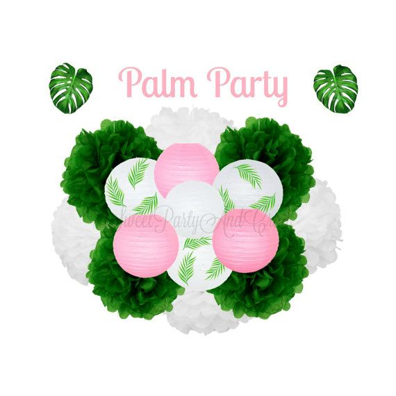 Palm Party Decoration  Tropical Party by SweetPartyAndCraft