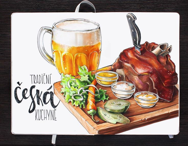 Сказ о чешских традиционных кушаньях. Много. Вредно. Очень вкусно.  The story about Czech cuisine.  #алхимияпутешествий, #prague_sketchingtour, #prague, #leuchtturm1917, #copic, #copicmarker, #traveljournal, #sketch, #illustration, #beer, #meat, #czechcuisine, #food, #foodsketch
