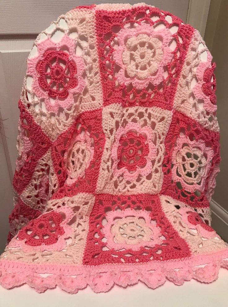 Handmade crochet vintage style pink patchwork lacy baby blanket by EarlyBrightcrochet on Etsy