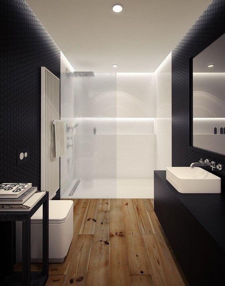 Ebenerdige Dusche Holzfu?boden : ebenerdige Dusche mit Glaswand in Wei? durch Beleuchtung betont