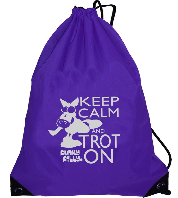 Funky Filly Silver Horse Keep Calm and Trot On Drawstring Bag