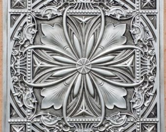 PL10 Faux tin finished antique silver 3D embossed 2x2 ceiling tiles Interior wall panel store cafe pub decor ceiling panels 10tiles/lot, $119 etsy