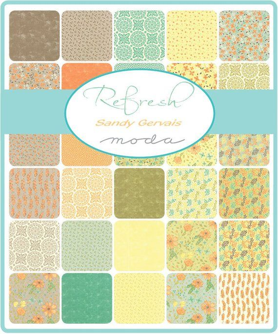"""Moda REFRESH Charm Pack 17860PP Quilt Fabric 42 5/""""x5/"""" Squares By Sandy Gervais"""