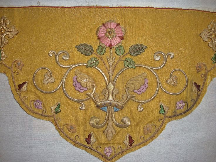 Length Antique Raised Goldwork Silk Embroidery on Cloth of Gold Crowns Roses | eBay