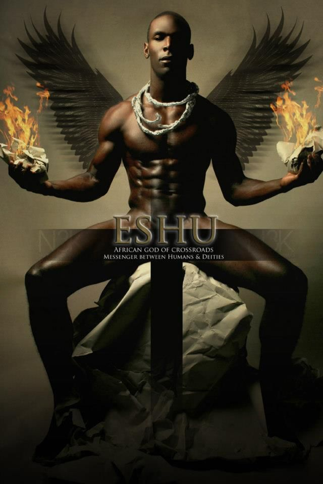 Eshu - African god of crossroads.  The messenger between humans and deities.  Orishas by Noire 3000 aka James C. Lewis - Eshu