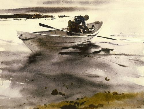 Wyeth's Boat - 1944    Image by nkimadams: Andrew Haze, Art 900Eoltr, Watercolor, Famous Painters Artists, Andrew Wyeth, Art 04, 1944 Image, Espino Art, Wyeth Boats
