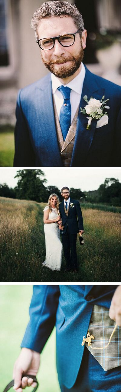 The contrasting cloth of this groom's waistcoat not only compliments the two blue pieces, but also gives a stand-out look strong on individual flair. Hearty congratulations to Gareth and his wife Lucy, and a big thanks for sharing pictures of your big day with us. Photography by Herrera Images.