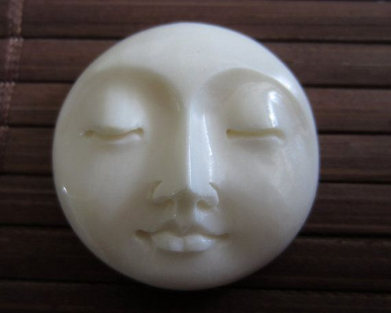 SALE 15% Off 25mm Gorgeous Hand Carved Moon Face Closed Eye , Embellishment, Moon face cameo, Bone Carving B3449