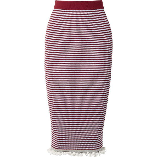 KENZO Striped ribbed stretch cotton-blend midi skirt (€320) ❤ liked on Polyvore featuring skirts, burgundy, burgundy skirt, ribbed skirt, midi skirts, calf length skirts and print midi skirt