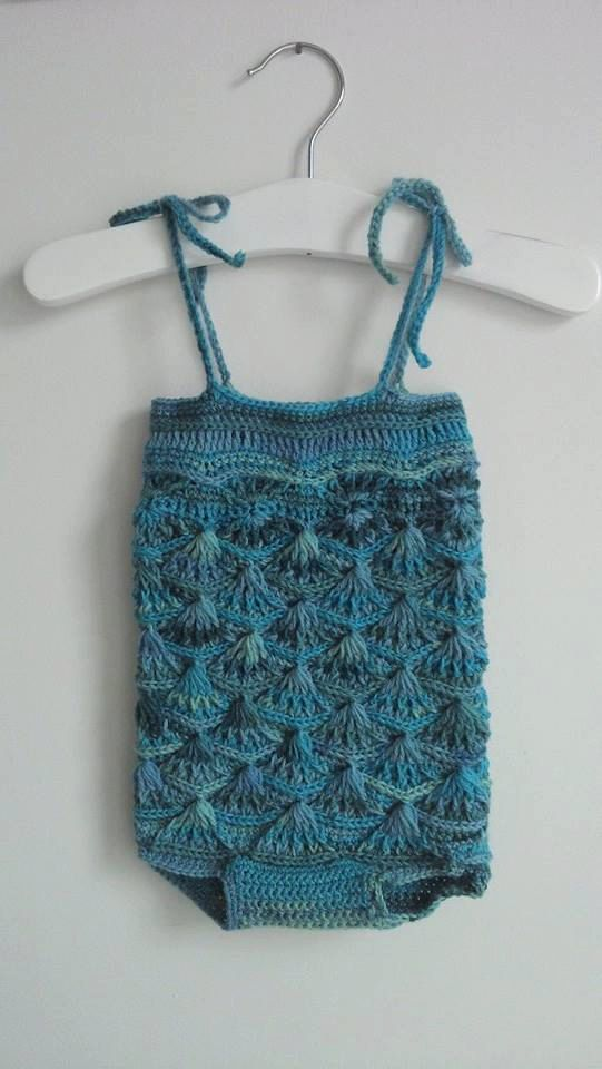 RTS Baby crochet mermaid romper in blues and greens, handmade romper size 3-6 months, unique photo prop by LolasKnittingDreams on Etsy