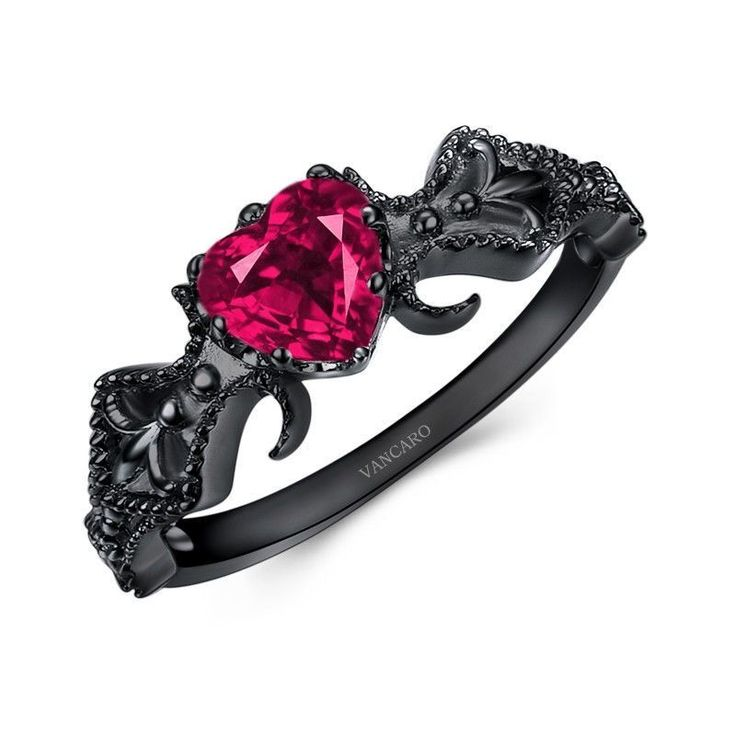 Black Engagement Ring for Vancaro - Women with Ruby Heart Cubic Ziriconia Surronded By Flowers Design