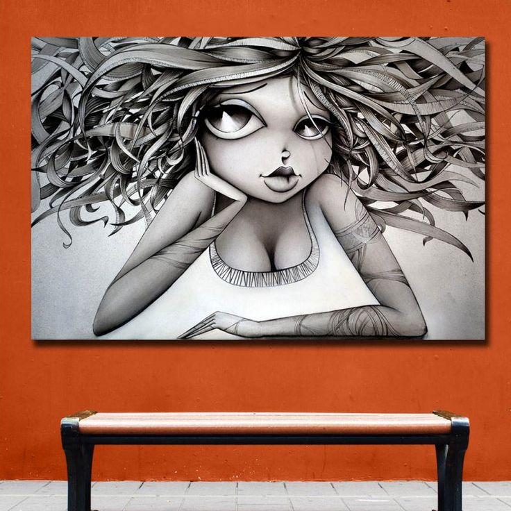 Fashion Huge Vinie Graffiti Art Paintings Print On Canvas HD Abstract Black Girl Canvas Painting Office Wall Art Home Decor   – Office Wall Art