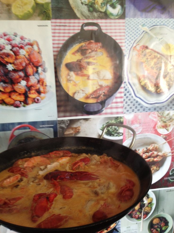 Lobster soup, with saffron, chicken, shrimps and of course lobster.