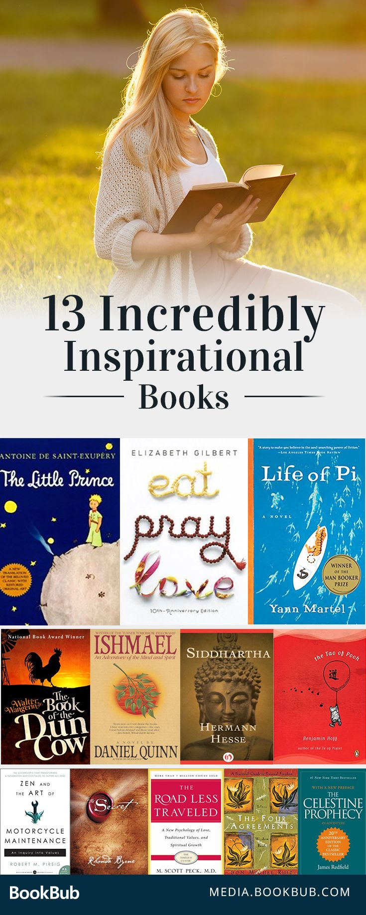 13 inspirational books to read. These books teach valuable life lessons and provide motivation for adults and teens alike.