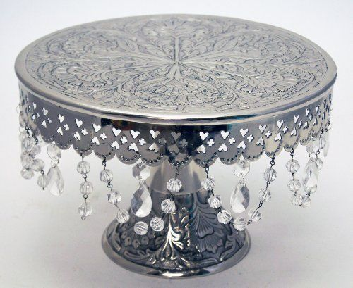 giftbay wedding cake stand round pedestal silver finish 14 with glass clear cry