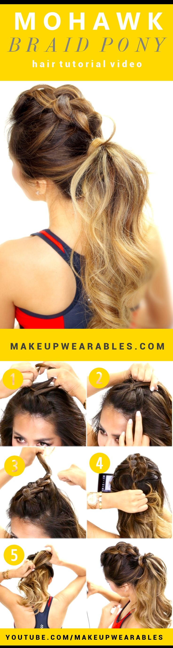 Mohawk Braid Ponytail Hairstyle | Braided Look