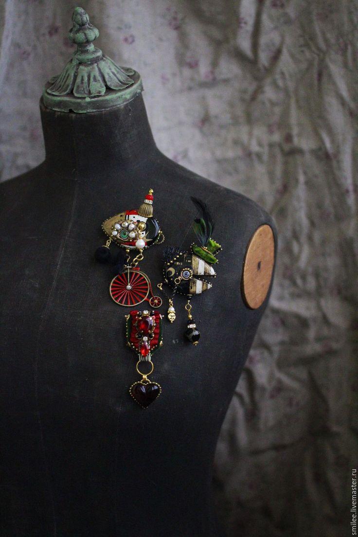 Купить Броши украшения с вышивкой и росписью . - комбинированный, роспись, ручная роспись, вышивка