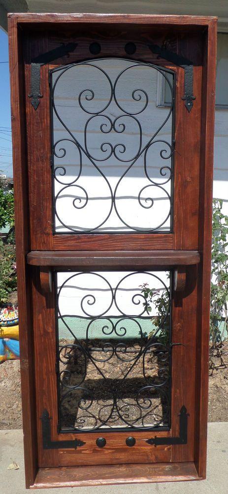 RUSTIC SOLID Wood DUTCH DOOR Shelf Reclaimed Lumber Wrought Iron Tempered Gla