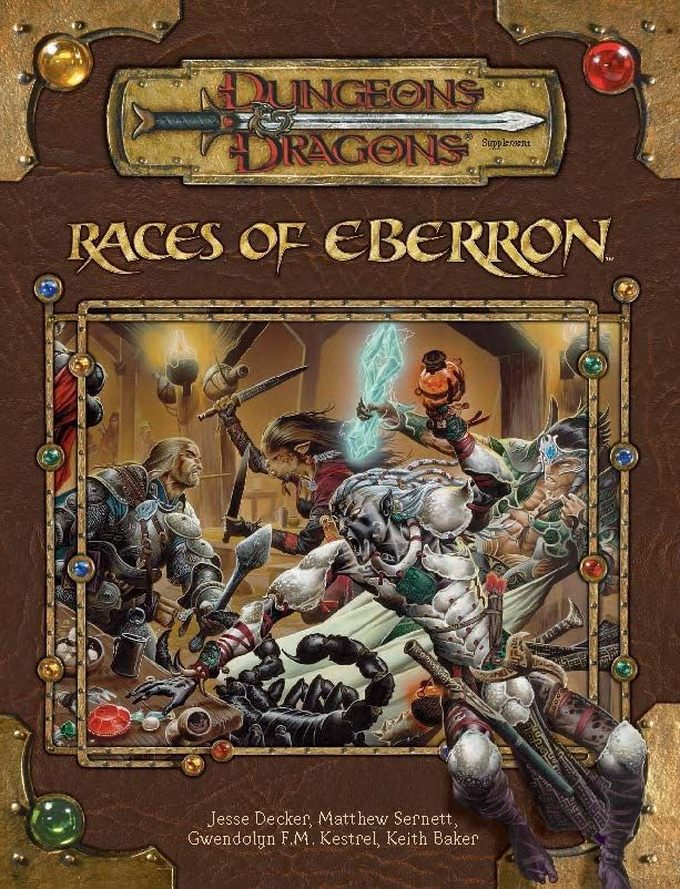 Races of Eberron (3.5) - Eberron   Book cover and interior art for Dungeons and Dragons 3.0 and 3.5 - Dungeons & Dragons, D&D, DND, 3rd Edition, 3rd Ed., 3.0, 3.5, 3.x, 3E, d20, fantasy, Roleplaying Game, Role Playing Game, RPG, Open Game License, OGL, Wizards of the Coast, WotC, TSR Inc.   Create your own roleplaying game books w/ RPG Bard: www.rpgbard.com   Not Trusty Sword art: click artwork for source