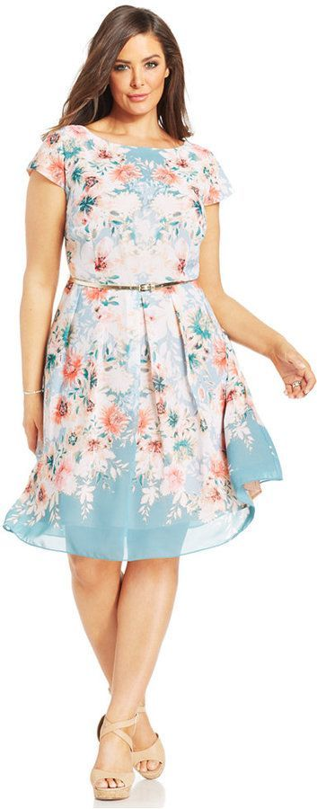 Plus Size Floral-Print Belted Dress - orange and white dress, sparkly dresses, white dress *ad