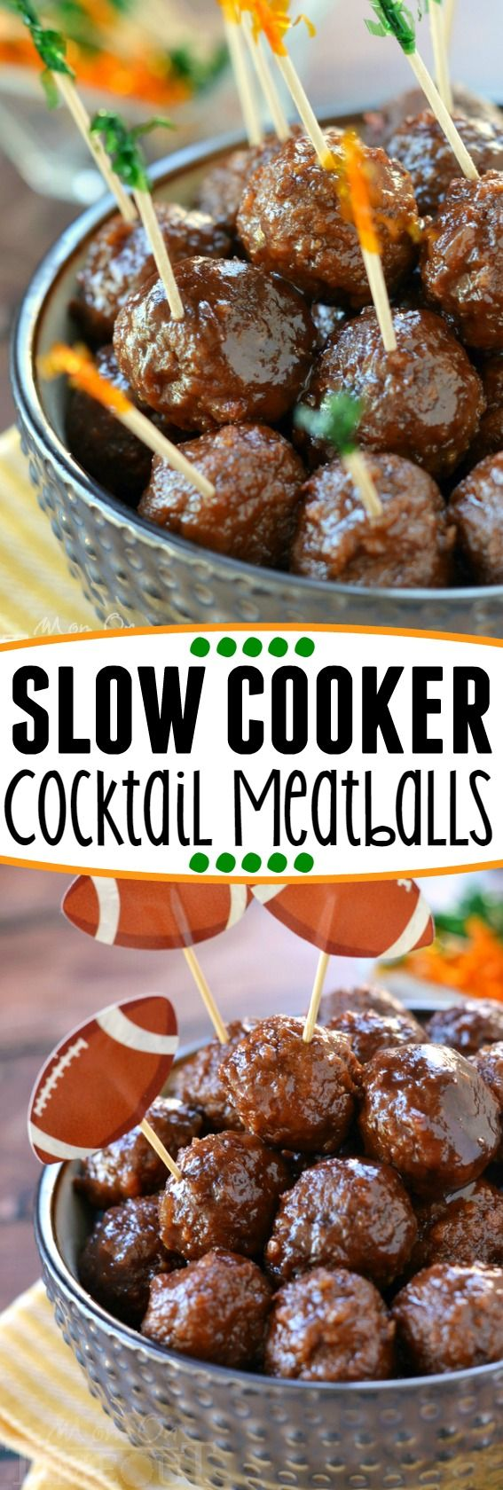 The best cocktail meatballs ever! These Slow Cooker Cocktail Meatballs are made with just three ingredients! Guaranteed to be a hit at your next party! | Mom On Timeout