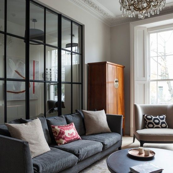 Grey living room with glass panelled wall | Modern decorating ideas | Homes & Gardens | Housetohome.co.uk