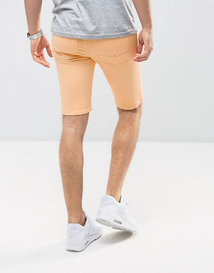 ASOS Denim Shorts In Super Skinny Orange With Thigh Rip - Orange