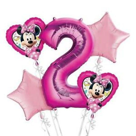 Home Garden Balloons Minnie Mouse Balloon Bouquet 2nd Birthday Party Supplies Decorations Favors