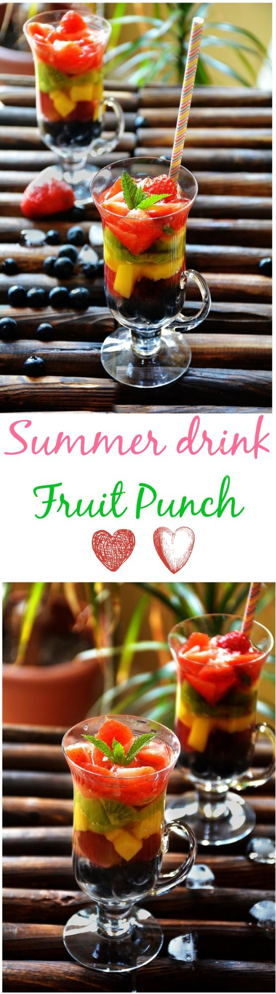 Fruit punch is a thirst quenching monsoon drink. This fruit punch mock tail is a very good combination of bright coloured fruits and lemonade.