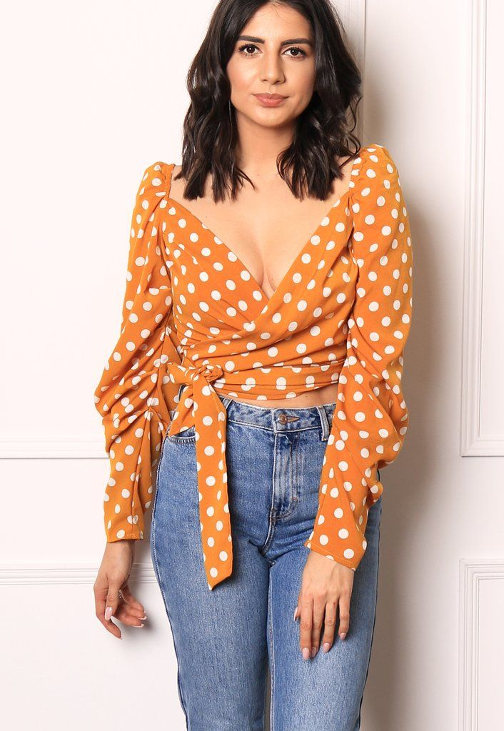 c247595b34ae3f Wrap Over Square Neck Puff Sleeve Polka Dot Wrap Shirt Blouse in Musta –  One Nation Clothing
