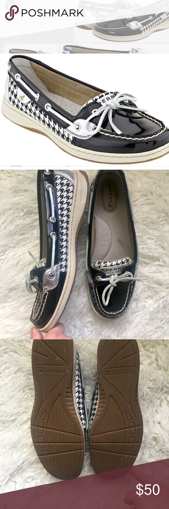 Sperry top side houndstooth leather boat shoes Great condition, no flaws. Patent leather, houndstooth and silver leather make these a must have pair of boat shoes. Slip on, flats, loafers. Add this to a bundle to save 15%. Sperry Top-Sider Shoes Flats & Loafers