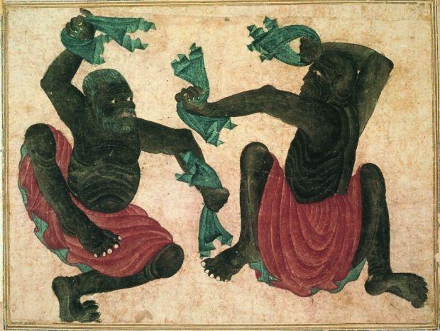 Dancing Men. Muhammed Siyah Qalam (Muhammed of the Black Pen). 14th century.