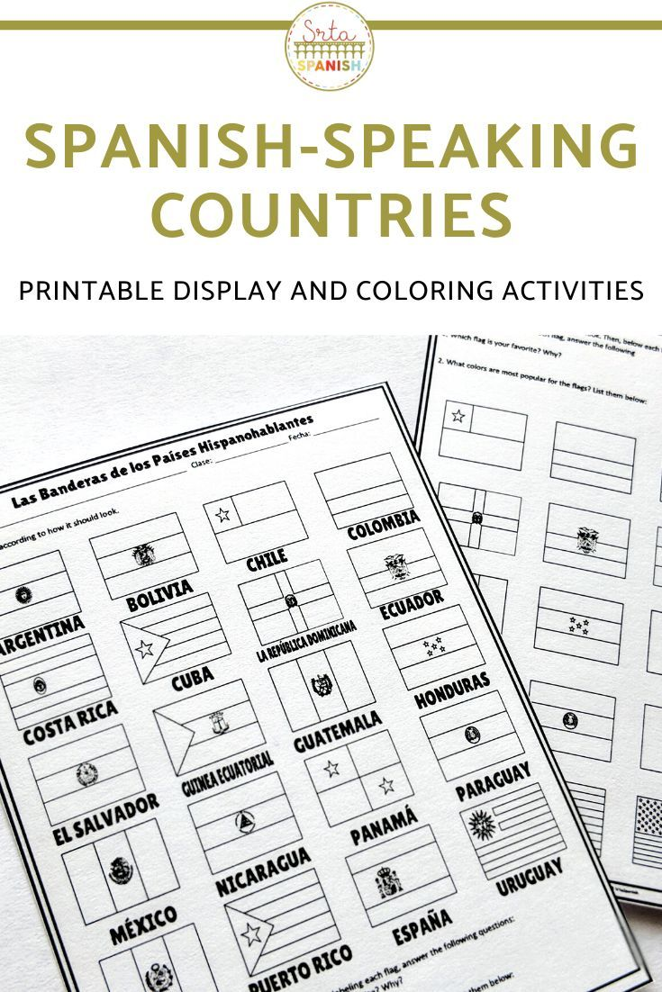 Spanish Speaking Countries Flags Display And Activity Sheets How To Speak Spanish Spanish Speaking Countries Spanish Lesson Plans