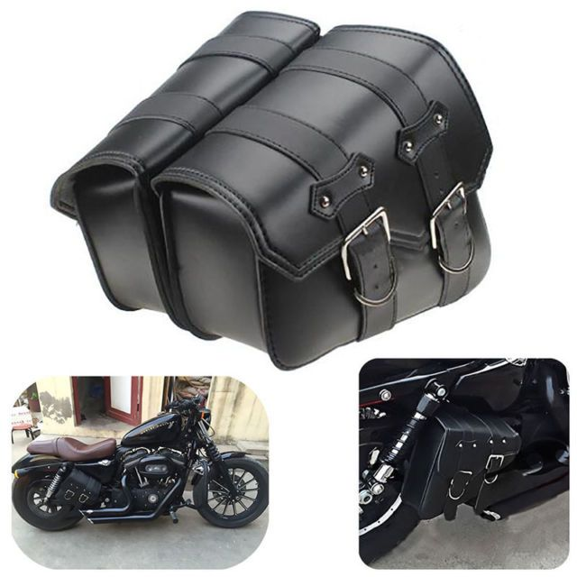 Universal Tank Saddle Bag Side Storage Pouch for Motorcycle Scooter Black