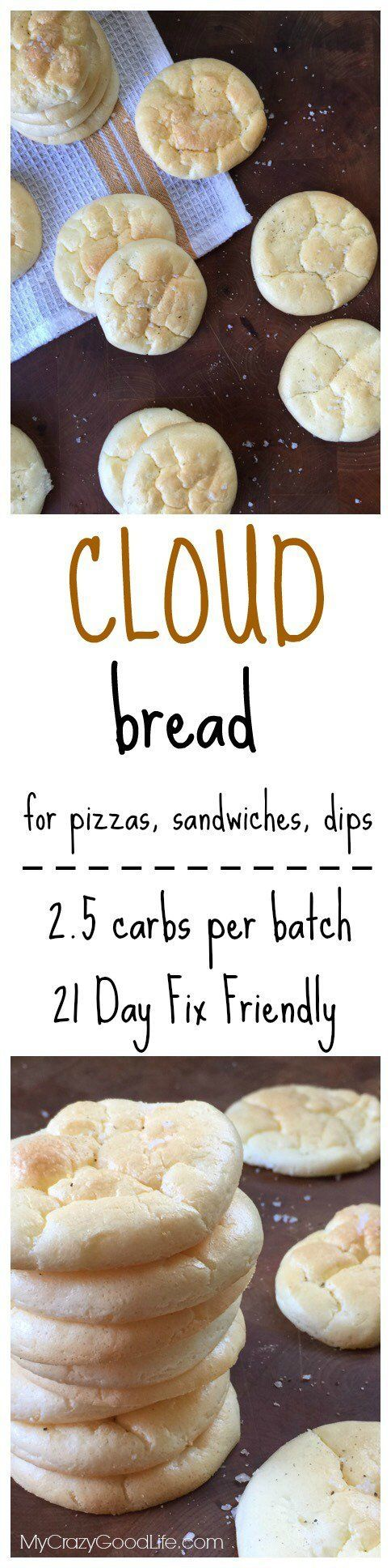 This low carb Cloud Bread has just 2.5 carbs per batchthat's about 15 cracker-sized pieces. It's great for those on a low carb diet, a gluten free diet, on the 21 Day Fix, or even just those who are trying to eat a bit less grain.