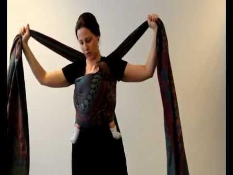 Geweven draagdoek knopen: Front Wrap Cross Carry (FWCC) - YouTube
