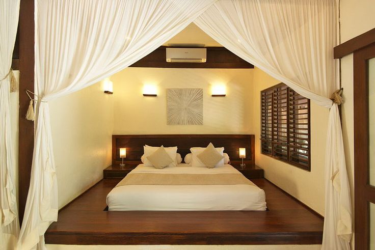 JAPANESE Bedroom by Canela Bali.  Japanese inspired wooden bed and nightstand.  Get your own on https://www.canelabali.com/canelabalibedroom