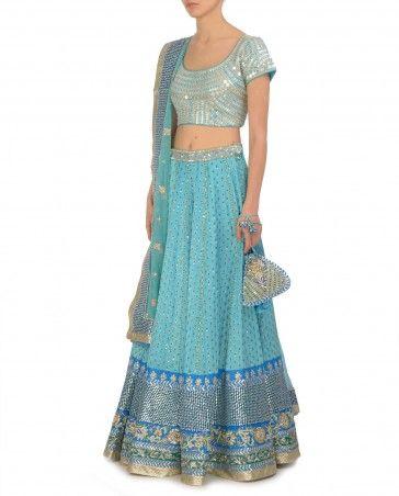 Embellished Sky Blue Lengha Set and Potli Bag by Ritu Kumar Shop now: http://bit.ly/ritukwedding it's like a Cinderella lengha!! @happyfebb