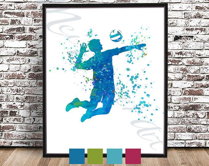 Men's Volleyball PRINT, Boy's Volleyball Poster, Volleyball Art, Volleyball Watercolor Painting, Coach Gift, Man Spiking, Kids sports art