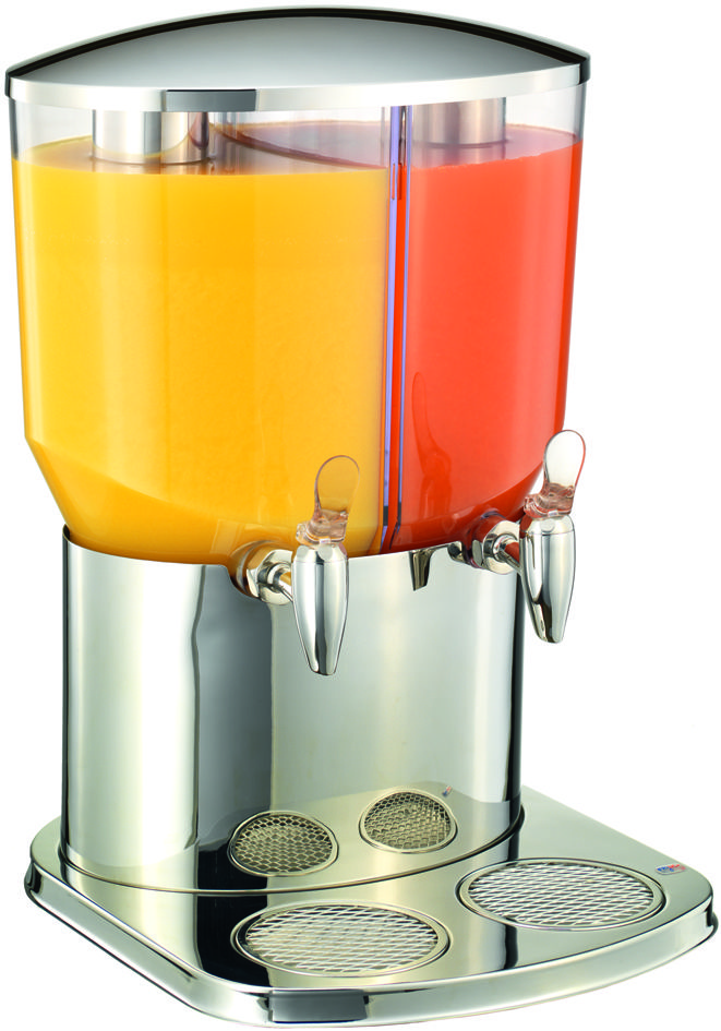 twin side by side juice dispenser with chiller packs and crushed ice tubes from pasadele.com